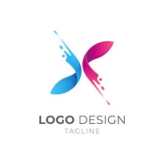 Eerste letter x-logo met spatbeweging