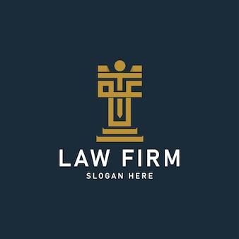 Eerste logo lf advocatenkantoor ontwerp logo sjabloon vectorillustratie