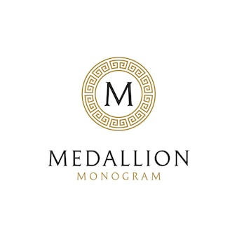 Eerste logo-ontwerp met oude griekse cirkel grenskader
