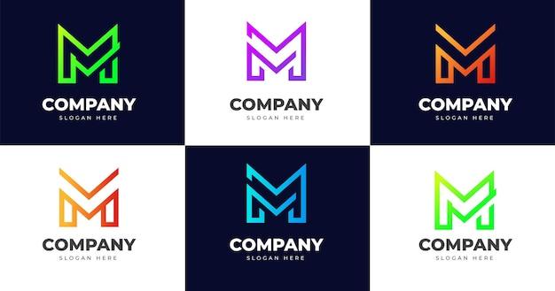 Eerste m briefsjabloon logo ontwerp, lijn concept