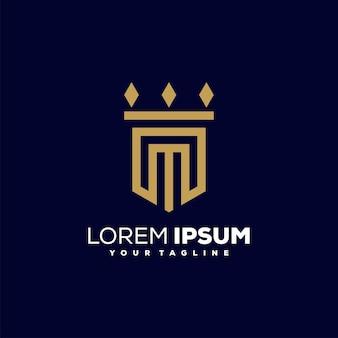 Eerste m gouden kleur, advocaat, advocacy-logo