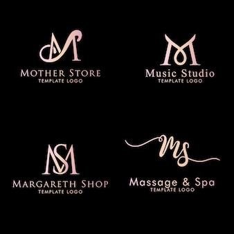 Eerste m-logo vrouwelijk bewerkbare tekstsjabloon