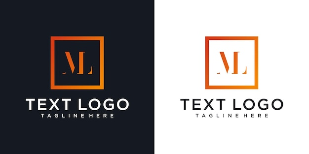 Eerste ml brief logo ontwerpsjabloon abstract letter ml logo ontwerp