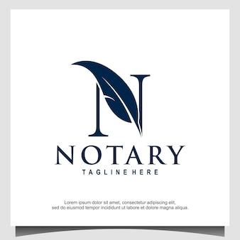 Eerste monogram n voor notarislogo vector