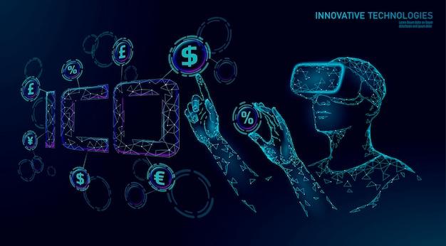 Eerste munt met ico-lettertechnologieconcept