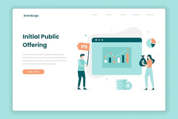 Eerste openbare aanbieding bestemmingspagina concept. illustratie voor websites, landingspagina's, mobiele applicaties, posters en banners.