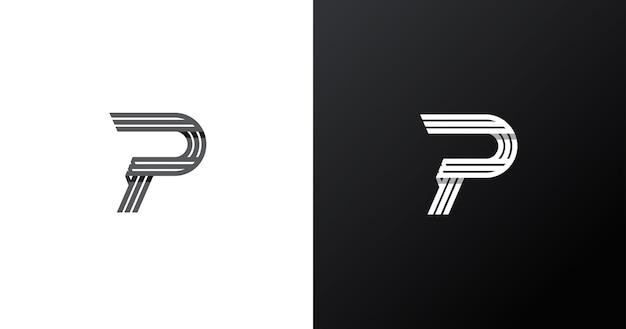 Eerste p briefsjabloon logo ontwerp, lijn concept