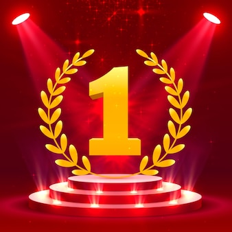Eerste podiumpodium met verlichting, podiumpodiumscène met voor prijsuitreiking op rode achtergrond, vectorillustratie