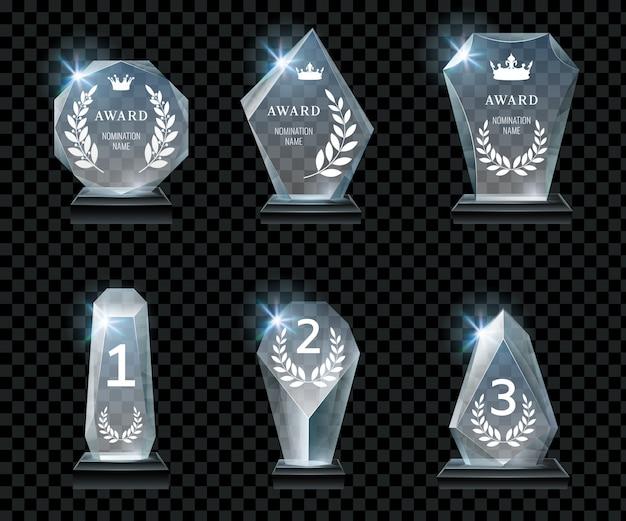 Eerste prijs, kristalprijs en gesigneerde acryltrofeeën realistische vector set