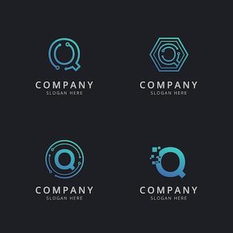 Eerste q-logo met technologie-elementen in blauwe kleur