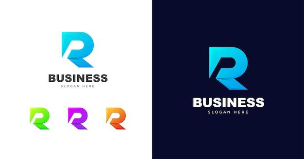Eerste r briefsjabloon logo ontwerp