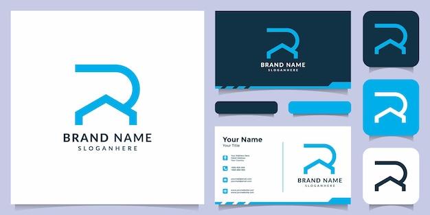Eerste r-logo met visitekaartje onroerend goed logo