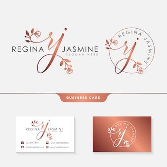Eerste rj vrouwelijke logo collecties sjabloon premium vector