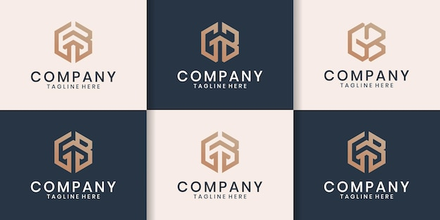 Eerste set gb-logo-ontwerpinspiratie