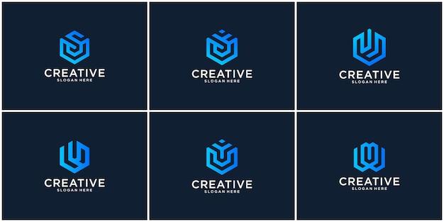 Eerste set u-logo-ontwerpinspiratie