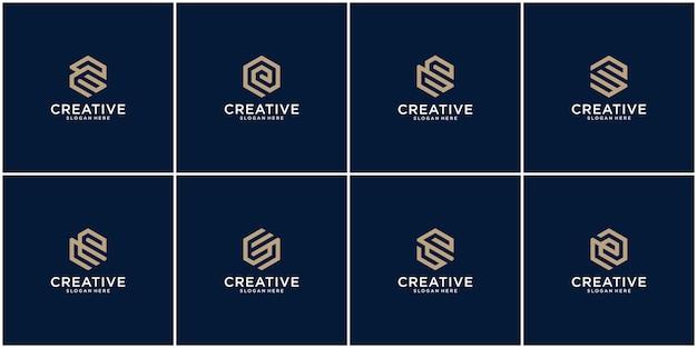 Eerste set van e-logo-ontwerpinspiratie