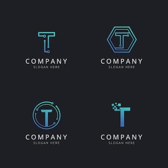 Eerste t-logo met technologie-elementen in blauwe kleur
