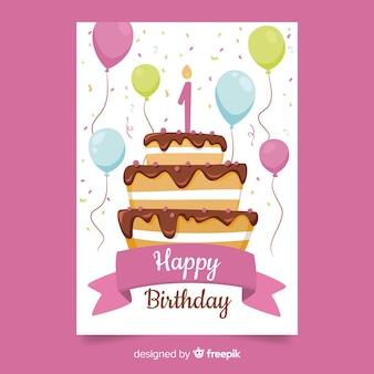 Eerste verjaardag ballonnen cake groet