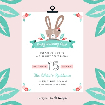 Eerste verjaardag bloem konijn uitnodiging
