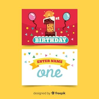 Eerste verjaardag cake nummer kaartsjabloon