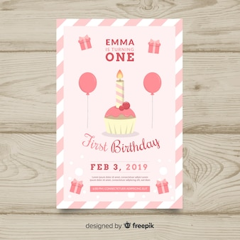 Eerste verjaardag cupcake kaars kaartsjabloon