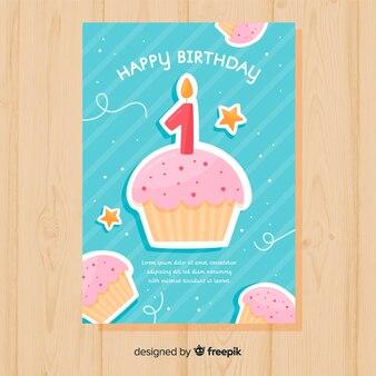 Eerste verjaardag cupcakes groet