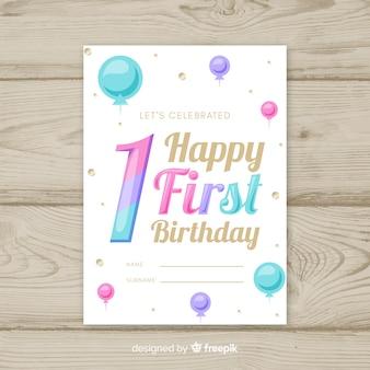 Eerste verjaardag gradiënt kleur nummer kaartsjabloon