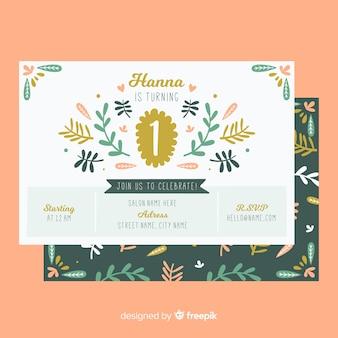 Eerste verjaardag hand getekend floral details kaartsjabloon