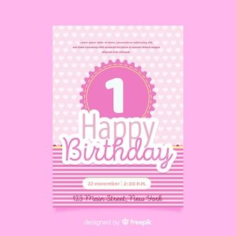 Eerste verjaardag harten kaartsjabloon