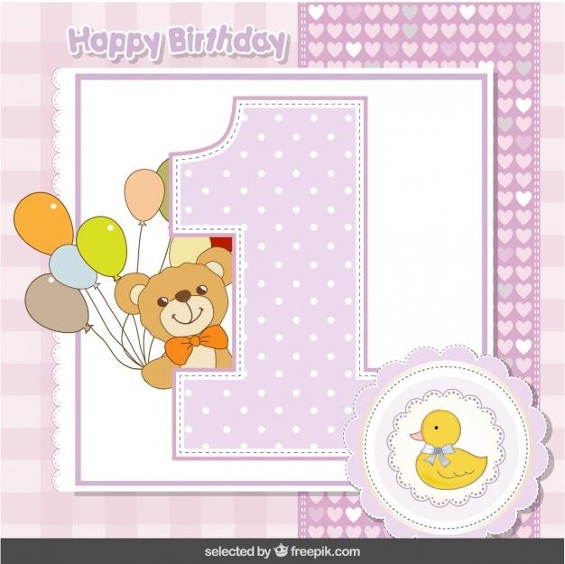 Eerste verjaardag kaart met teddy beer en eend