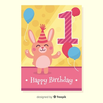 Eerste verjaardag konijn met hoed groet