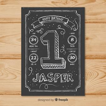Eerste verjaardag schoolbord nummer kaartsjabloon