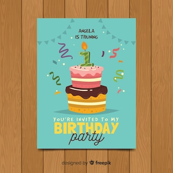 Eerste verjaardag twee lagen taart kaartsjabloon