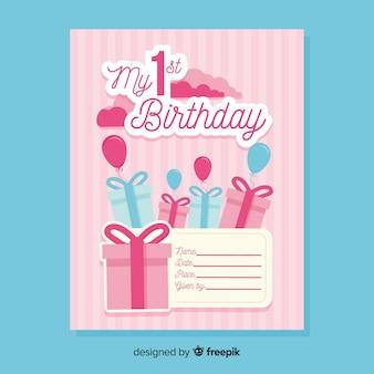 Eerste verjaardag uitgesneden uitnodiging