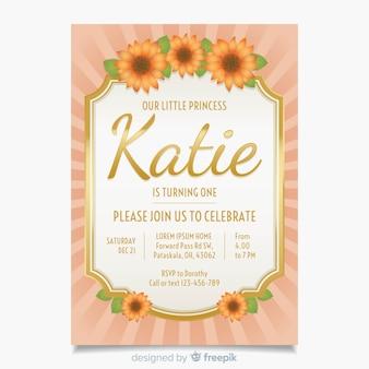 Eerste verjaardag zonnebloemen kaartsjabloon