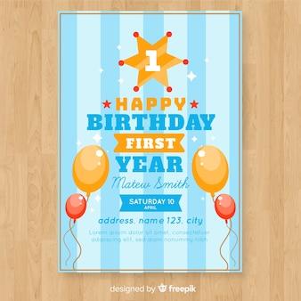 Eerste verjaardagsuitnodigingskaart met gestreepte achtergrond