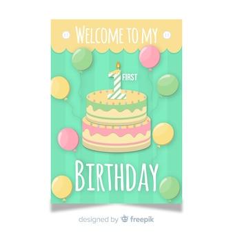 Eerste verjaardagsuitnodigingskaart
