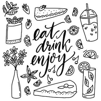 Eet drinken geniet van cafe inspirerende quote en handgetekende doodles van desserts kleurplaat ontwerp