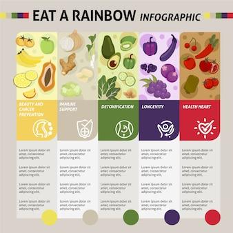 Eet een thema met een regenboog infographic sjabloon