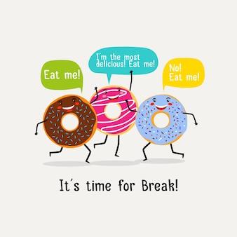 Eet een zoete, smakelijke donut. leuke kleurrijke beglazing donuts met tekstballonnen. illustratie met karakter lekkere donuts. illustratie