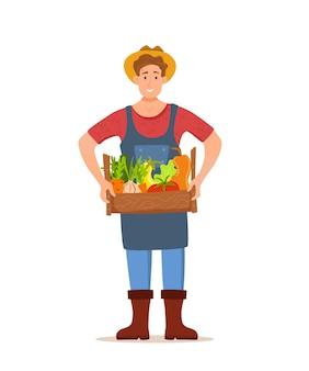 Eet lokale biologische producten cartoon concept. gelukkige boer