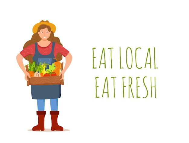 Eet lokale biologische producten cartoon concept. kleurrijk uit