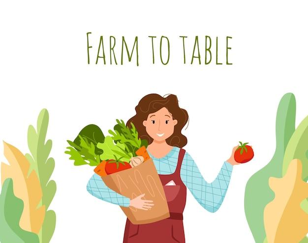 Eet lokale biologische producten cartoon vector concept. kleurrijke illustratie van gelukkig boer karakter meisje bedrijf doos met geteelde groenten. ecologisch marktontwerp voor de verkoop van landbouwproducten