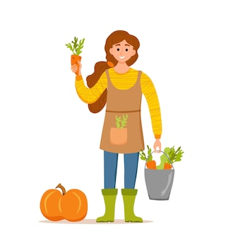 Eet lokale biologische producten cartoon vector concept. kleurrijke illustratie van gelukkig boerenkarakter meisje met emmer met geteelde groenten. ecologisch marktontwerp voor de verkoop van landbouwproducten