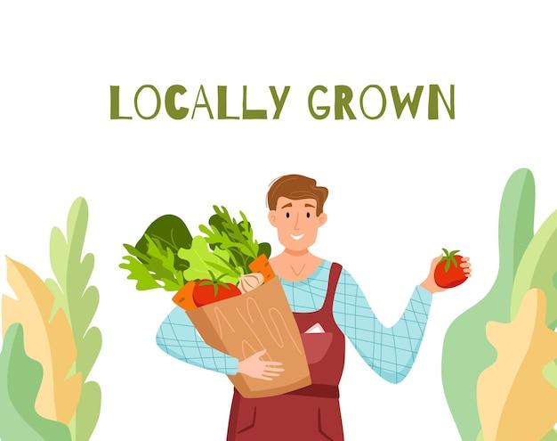Eet lokale biologische producten cartoon vector concept. kleurrijke illustratie van gelukkige boer karakter mannen houden doos met geteelde groenten. Premium Vector