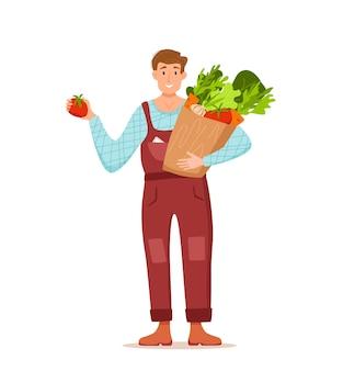 Eet lokale biologische producten cartoon vector concept. kleurrijke illustratie van gelukkige boer karakter mannen houden pakket met geteelde groenten.
