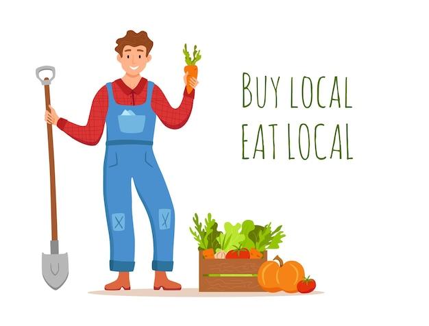 Eet lokale biologische producten cartoon vector concept. kleurrijke illustratie van gelukkige boer karakter mannen houden schop met geteelde groenten.