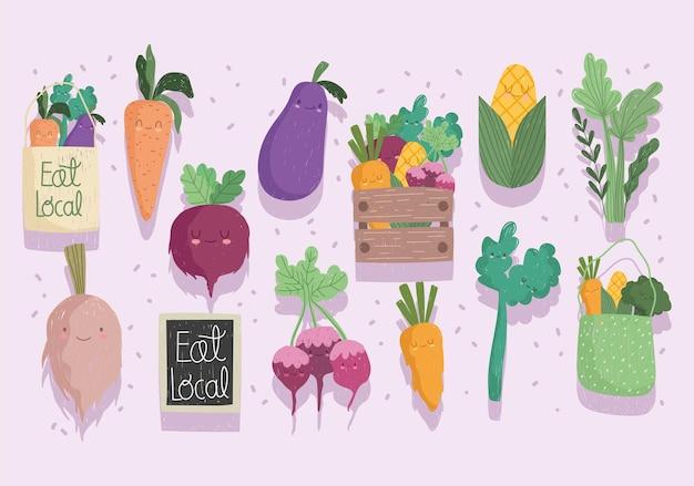 Eet lokale groenten eten gezonde cartoon set