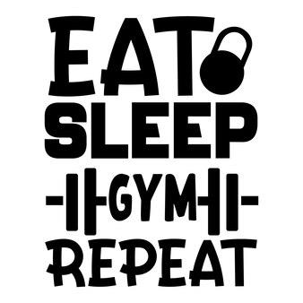 Eet slaap sportschool herhaal handschrift premium vector design