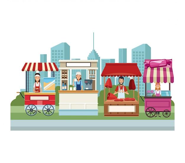 Eetcabine en winkels